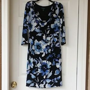 Ralph Lauren black/blue floral print dress 12 NWOT